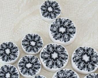Jewelry making beads polymer clay round flat beads black and white Millefiori kaleidoscope beads flower pattern diy jewelry bracelet bead