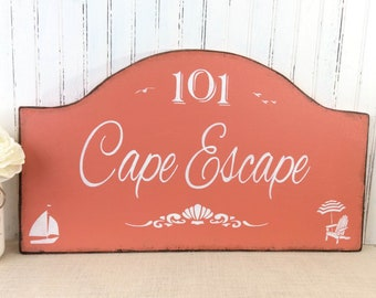 Cape Escape sign, Beach HOUSE, Shore House rustic sign,  custom family vacation sign, realtor gift, beach decor, Cape Cod, Cape May sign
