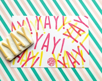 yay! rubber stamp | calligraphy word stamp | gift for her & him | birthday card making | diy gift wrapping | hand carved by talktothesun