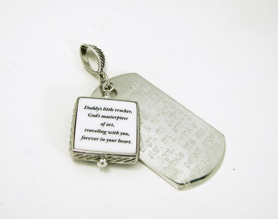 Sterling Rope Framed Photo Pendant with an Engraved Dog Tag on a Angel Wing Bail - XSM