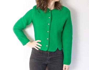 SALE!! Vintage Wool Green Jacket | Tally Ho 100% Boiled Wool St. Patricks Day Jacket