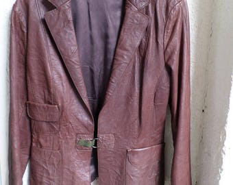 Vintage leather blazer, Woman's leather jacket, Brown leather jacket