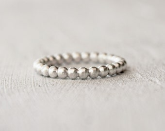 Ball Bead Ring - Boho - Gypsy Inspired Stacking Ring - Sterling Silver - Geometric - Modern Silver Ring  - Gift For Her