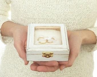 Wedding Ring Pillow Box Ring Bearer Box Rustic Pillow Alternative White Wedding Ring Box Wood Ring Box Shabby Chic Beach Wedding Engraved