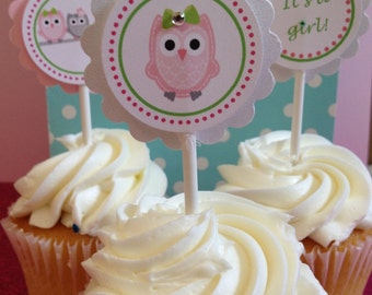 Owl Babyshower Its a Girl , Owl Cupcake Toppers, 12 Ready-to-Ship item
