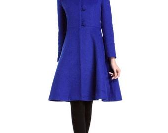 Royal Blue Vintage Swing Coats Winter Wool Jackets For Women