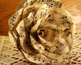 Corsage Paper Flower Brooch, Handmade with Vintage Christmas Music, created in the shape of a Rose, a really lovely gift for the Winter.