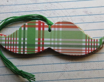 11 Mustache shaped Christmas Gift tags Red/White/Green Plaid design over chipboard