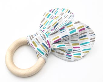 Organic Cotton and  Wood Baby Teether with Rabbit Ears. Eco Friendly Baby Gift. Gifts Under 15.