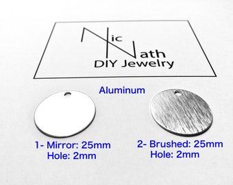 25mm en aluminium estampage blancs bijoux rond cercle fournitures artisanat résultats faire soi-même Diy estampage gros poignets bracelet jonc en métal