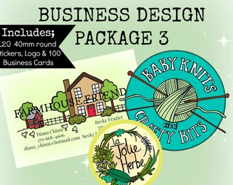 Custom Business Design Package 3 - Logo, Stickers & Business Cards x100