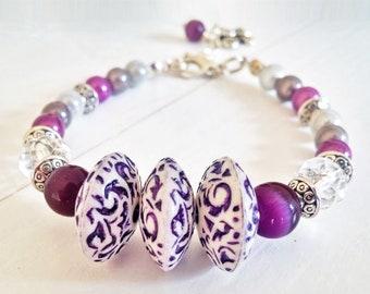 Beaded bracelet, purple bracelet, adjustable bracelet, purple beaded bracelet, handmade bracelet, adjustable beaded bracelet
