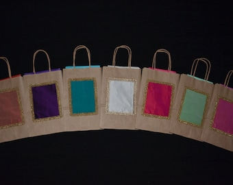 Gift Bags,Wedding Gift Bags, Kraft Gift Bags, Multicolored Silk Bags, Birthdays,Welcome Bags, Favor Bags, Bridesmaids, Small gift bags, Bags