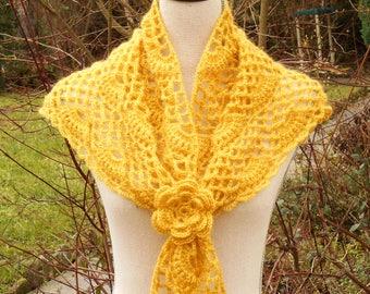 Honey yellow crochet scarf shawl