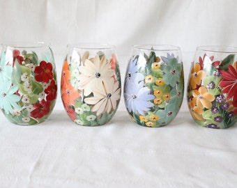 Stemless Wine Glasses Hand Painted Floral Mixed Flowers 1