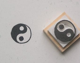 Tai Ji Stamp(Ying Yang Stamp) . hand carved stamp.  rubber stamp.  mounted