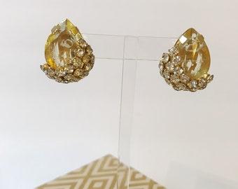 Vintage Hattie Carnegie Gold Pear Earrings