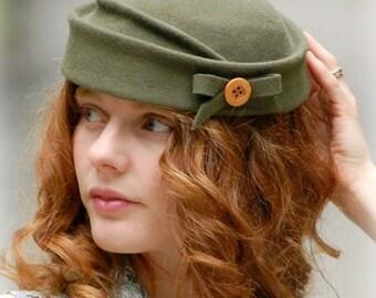 Felt Pillbox Hat Vintage Inspired Earthy Moss Green