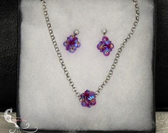 beaded jewelry, jewelry set, crystal jewelry set, handmade jewelry, pink crystal jewelry, swarovski crystal, crystal earrings, beadweaving