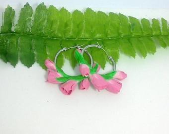 Handcrafted polymer clay spring gentle pink tulips hoop earrings