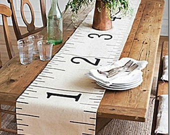 """Painter's Drop Cloth Canvas Ruler Table Runner 96"""""""
