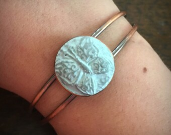 SOLD~ Hand made carved clay butterfly cuff in antiqued copper By Brooke Baker