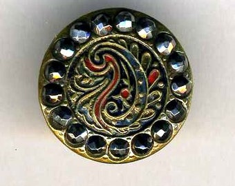 Antique Button, Paisley with Steels Border, Sm