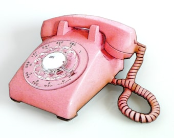 Pink Phone Brooch Kitsch Accessory Telephone Pin Retro Dial Phone Jewelry