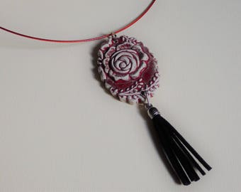 tassel and flower Locket necklace pendant