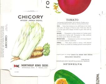 16  Vintage FLOWER / VEGETABLE Unfolded Vegetable Seed Packs