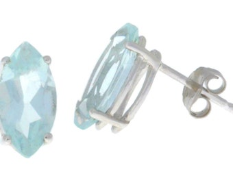 2 Ct Aquamarine Marquise Stud Earrings .925 Sterling Silver