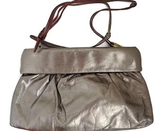Saks Fifth Avenue Leather Purse - Pale Gold & Brown Leather Strap Shoulder Bag, Vintage 1970s Designer Handbag