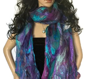 Purple Felt Scarf, Christmas scarf, OOAK art scarf, felt wrap, Outlander Cobweb Felt, Felted Felt Wrap, Wool Scarf, purple shawl, felt shawl