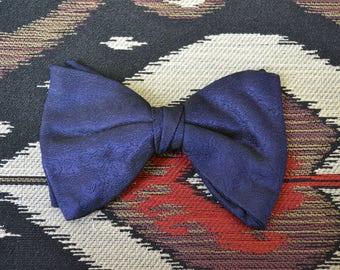 1960s Blue Brocade Clip-on Bow Tie