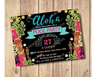 Luau Party Invitation; Pool Party Invitation; Summer Party; Tiki Party; Aloha; Hawaii Theme