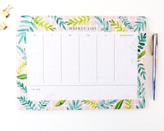 Graduation Gift / Weekly Notepad Planner / Weekly Planner / 2018 / Weekly Notepad / Notepad / Notepad Planner / Calendar Notepad / Leaves
