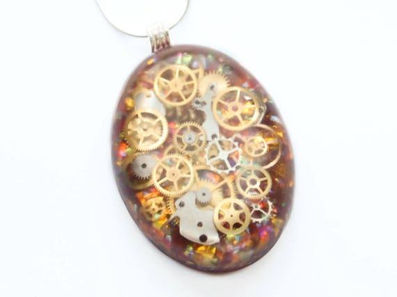 Steampunk Heart Pendant / Necklace, Watch Parts , Gears, Cogs in Resin, Fire Opal Effect, Sterling Silver Chain