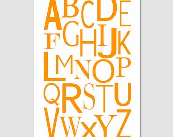 Modern Alphabet - 13x19 - Kids Wall Art for Nursery or Playroom - CHOOSE YOUR COLORS - Orange, Pink, Yellow, and More