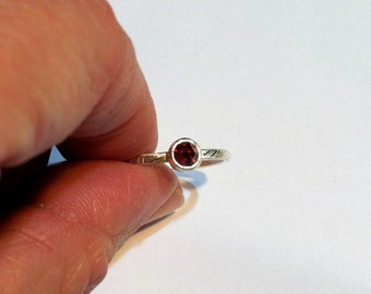 Sterling Silver Rose Cut Garnet Stack Ring, antique look