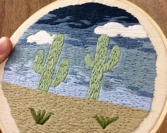 "Saguaro Cactus Desertscape 6"" Embroidery"
