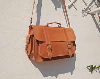 Professional Bag, Full Grain Leather Briefcase, Handmade Messenger Bag, 15 inch Laptop Bag. 4 COLORS AVAILABLE!