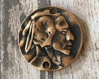 Indian Head Pewter Round Disc Pendant Antiqued COPPER Hammered Double Sided (2 holes) Connector