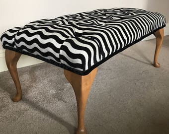 Footstool/coffee table Vintage Antique Queen Anne legs...Black and White