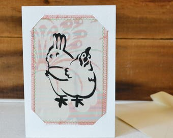 Mixed Media Postcard on Card Chicken Print - Small Mixed Media Art Print