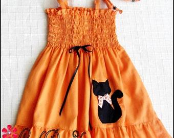 Halloween dress, Girls Halloween dress, Girls cat dress, Black cat dress, Halloween cat dress,  Girls Pumpkin dress, Orange Halloween dress