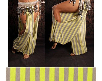 French Carnival Harem Pants, yellow grey stripe belly dance pants, cut out legs, wide leg, Hippie, tribal fusion dance, Gypsy dance costume