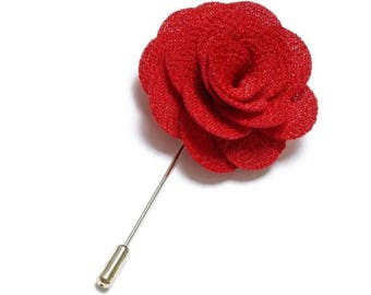 Red Lapel Pin Wedding Boutonniere Groomsmen Stick Pin Groomsman Lapel Flower Boutonniere Groom Best Man Usher Rose Cherry Apple Red