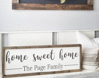 Home Sweet Home.Family Last Name  sign. Rustic framed sign. Wedding gift. Housewarming gift. Framed wood sign.