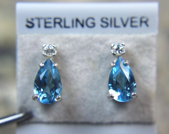 TOPAZ -  Swiss Blue Topaz with White Topaz Accent Sterling Silver Stud Earrings!