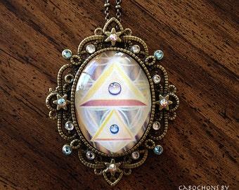 Crystal Pyramid - Swarovski Crystal Cabochon Necklace by Ishka Lha
